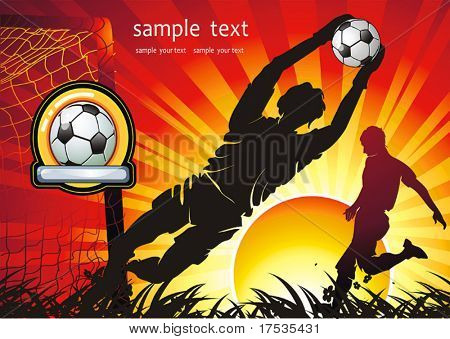 Soccer Action player. Team on beautiful Abstract Background. Original Vector illustration sports series. Abstract Classical football poster.