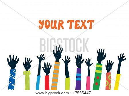 Hands up banner with many people - banner for support or promotion vector graphic illustration