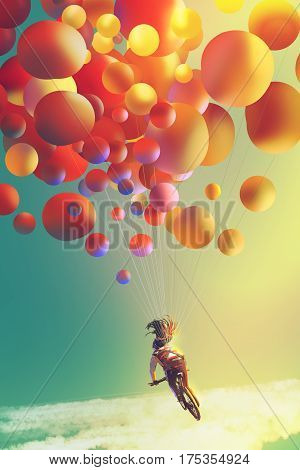 woman with colorful balloons riding bike in the the sky, illustration painting