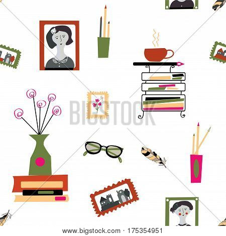 Seamless pattern for blog of writer or photographer design for girls - vector graphic illustration