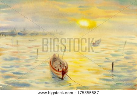 Watercolor seascape original painting colorful of reflections on the water and emotion in yellow light and cloud bottom background. Hand painted Impressionist, abstract image,illustration,  nature summer season.