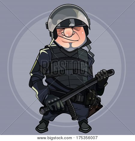 cartoon man in the form of special forces in body armor and helmet