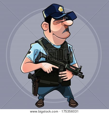 cartoon man in uniform police officer in a flak jacket with a gun in his hand