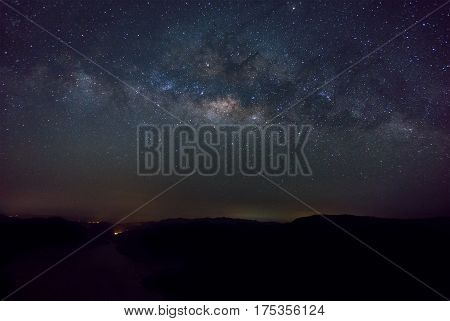 Milky way in the night. Picture of milky way before sunrise.