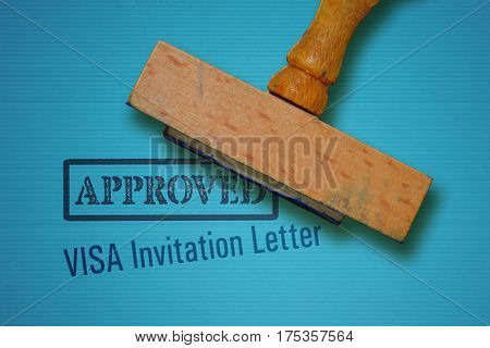 Text Visa Invitation Letter and rubber stamp on blue background