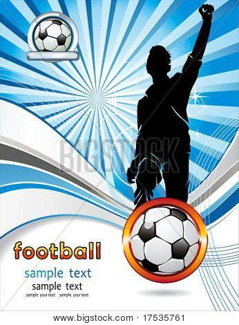 Soccer ball with silhouettes of sport fan. Vector Football background with space for your text. Abstract Classical football poster. poster