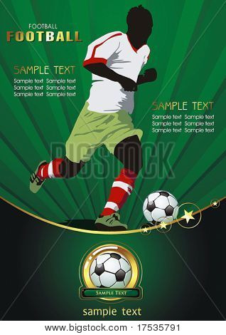 Soccer Action player. Original Vector illustration sports series. Abstract Classical football banner