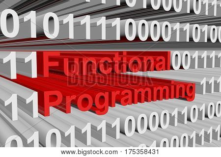 Functional Programming is presented in the form of binary code 3d illustration
