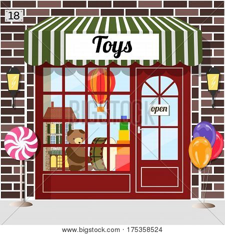 Toys shop facade of brown brick. Doll house, bear, balloon and drum in the window. vector .