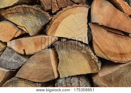 Firewood for fire expansionfirewood. Chopped wood. Wooden background
