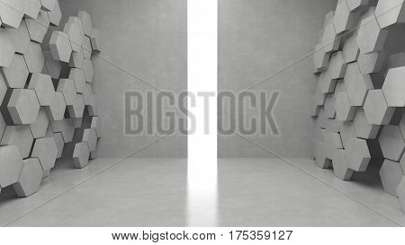 Empty modern interior and hexagons pattern background with bright light from entrance. 3D rendering.