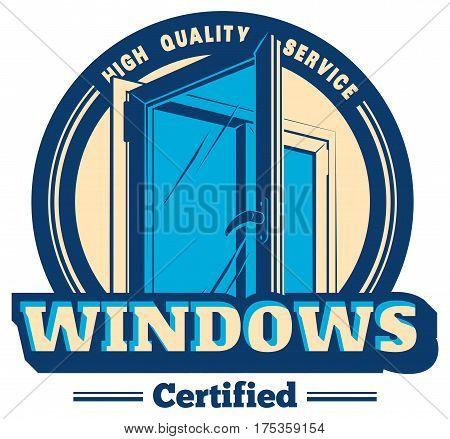 Vector logo or emblem pvc plastic window service