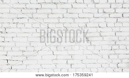 Old Stucco White Brick Wall. Abstract Whitewash Brickwall Background Texture. Vintage Wallpaper Web banner Wide Screen For design
