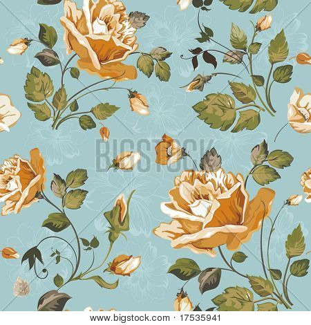 Seamless wallpaper pattern with of yellow roses on blue background, vector illustration