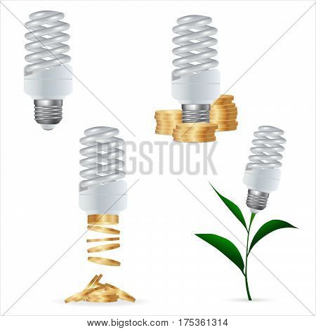 Set clipart. Energy saving lamp and money. Isolated