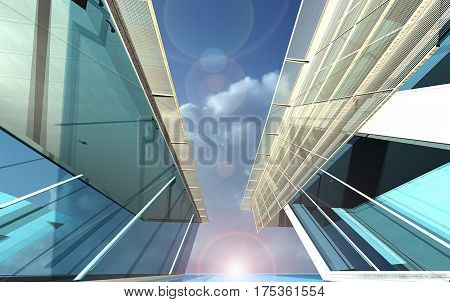Residential apartment building on sunny day with blue sky.,3D Rendering
