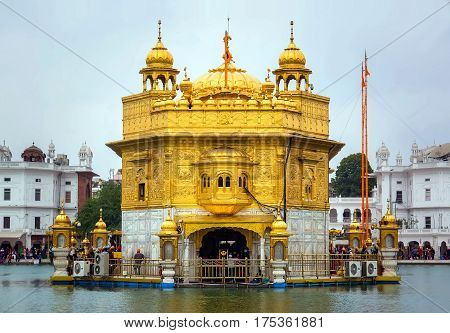 the Golden Palace in Amritsar Punjab. front view.