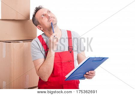 Mover Guy Looking Up And Thinking Holding Clipboard