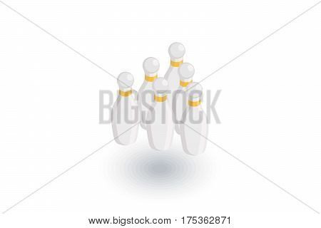 Bowling Skittles isometric flat icon. 3d vector colorful illustration. Pictogram isolated on white background