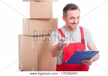 Mover Guy Smiling And Offering For Signing On Clipboard