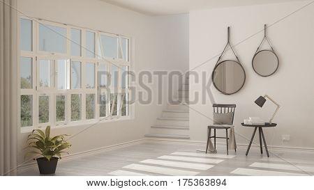 Scandinavian Minimalistic Lobby, Entrance, Hallway, Modern Interior Design
