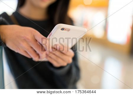 Woman touch on the smart phone
