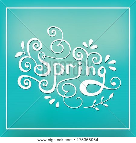Spring lettering design logo. Decorative typography element with floral decorative leaves on blue background. Season colors label. Fashion art for t-shirt emblem