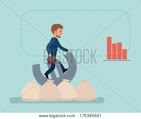 Concept flat vector business illustration. Stock exchange. Financial Rodeo. Young broker riding a Euro sign, he's trying to resist.