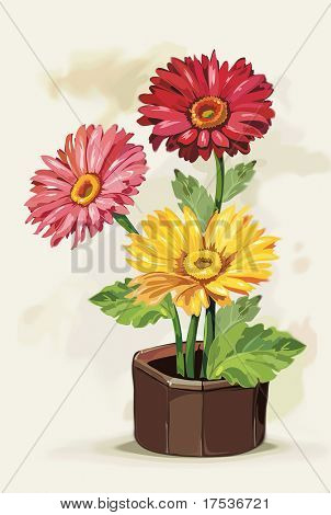 Flowers Gerbera in a pot on light background, Elegance retro vector illustration.