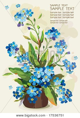 Flowers forget-me-not in a pot on light background, Elegance retro vector illustration.
