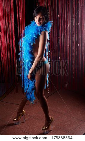 Young beautiful nude woman with feather boa