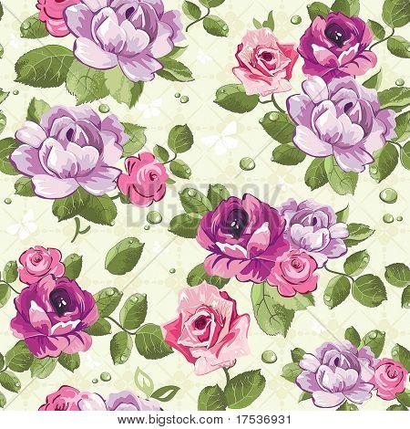Elegantie naadloze achtergrond patroon met van roze rozen op floral achtergrond, vectorillustratie