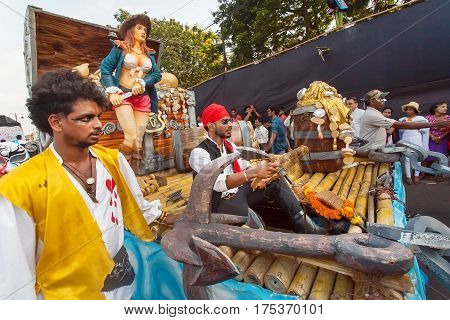 PANAJI, INDIA - FEB 25, 2016: Pirates of the Caribbean and other actors having fun on the traditional Goa carnival on February 25, 2017. Carnaval is celebrated in Goa since 18th century