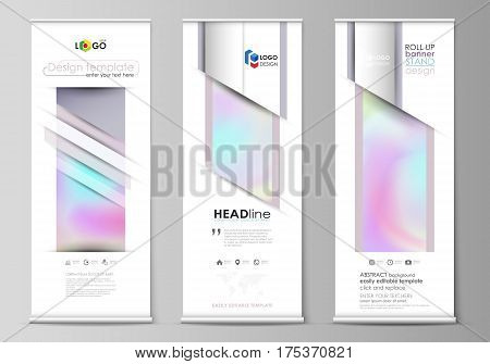 Set of roll up banner stands, flat design templates, abstract geometric style, modern business concept, corporate vertical vector flyers, flag layouts. Hologram, background in pastel colors with holographic effect. Blurred colorful pattern.