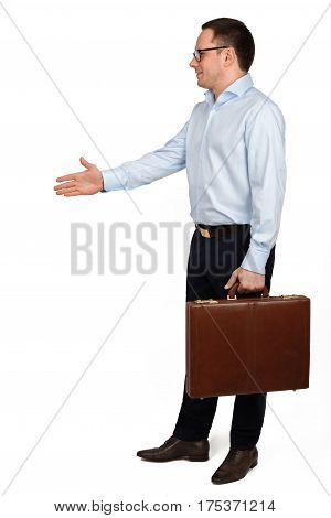 Side View Of A Young Business Man In Glasses And Formal Clothes With Brown Briefcase In Handshake Po