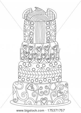 Cake coloring book for adults vector illustration. Anti-stress coloring for adult. Zentangle style. Black and white lines pie. Lace pattern