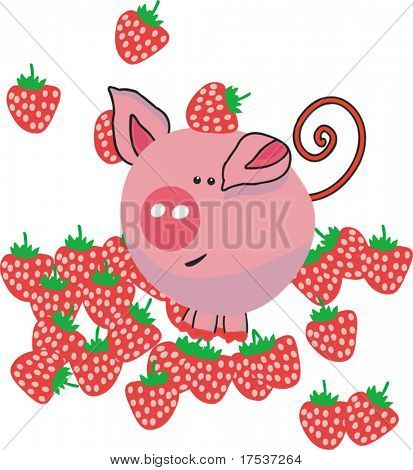 pig in strawberry