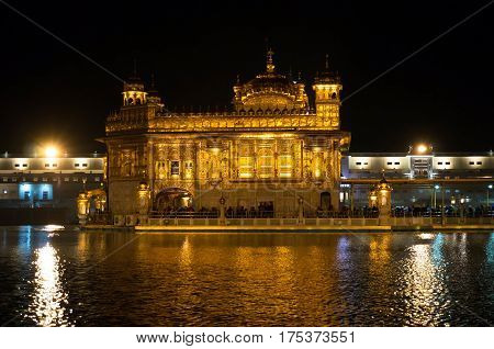 The stunning Sikh Golden Temple in Amritsar Punjab region in India