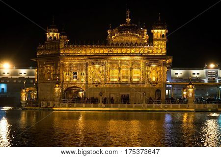 Golden Temple Harmandir Sahib at night in Amritsar Punjab
