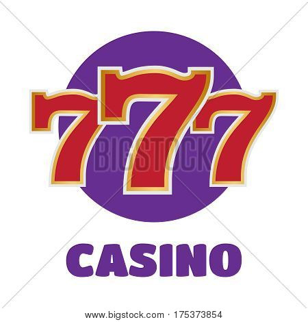 Slot machine symbols on black background. Lucky seven vector