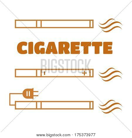 Smoking vs Electronic cigarette or vaporizer device vector. Electronic cigarette vector