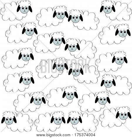 Flock of sheep on white background. Eps10