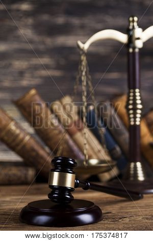 Law wooden gavel barrister, justice concept, legal system