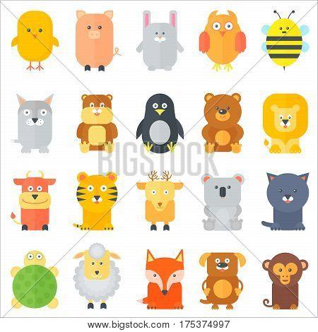 Animal icons collection. Flat animals set. Vector illustration