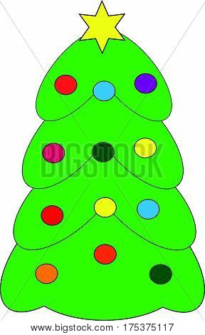 Cristmas tree on white background. Vector illustration.