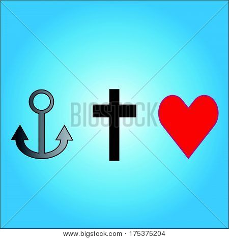 Three symbols anchor,cross and heart on blue background. Vector illustration.