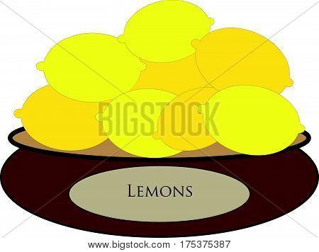 Brown bowl with yellow lemons on white background. Vector Illustration.