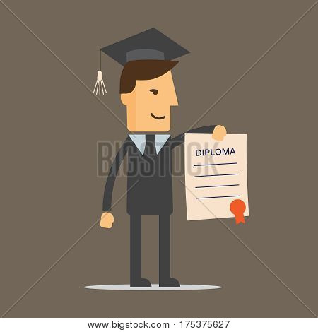 Illustration of obtaining degree diploma of university college or business school. A man in a suit hold a degree certificate. Vector illustration