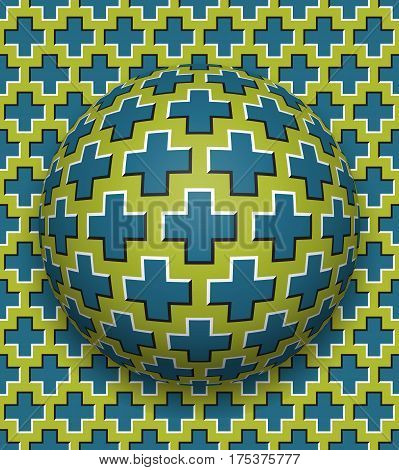 Crosses patterned ball rolling along the same surface. Abstract vector optical illusion illustration. Motion background and tile of seamless wallpaper.