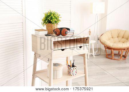 Modern stand-up desk in living room